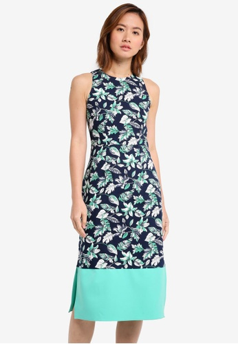 ZALORA multi and navy Colour Block Midi Dress 5F6C1AA7B99E67GS_1