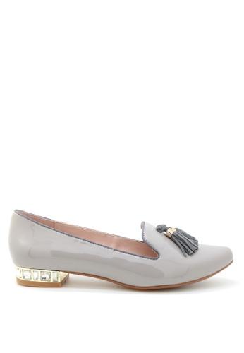 PRODUIT PARFAIT grey Patent Pointed Toe Flats 12548SHCB41906GS_1