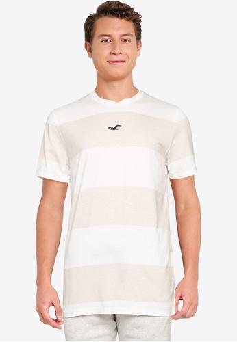 Hollister beige Crew Stripes T-Shirt 55A01AAB683F00GS_1