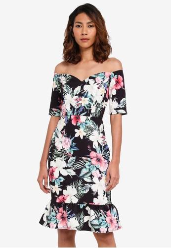 Paper Dolls black Tropical Bardot Peplum Hem Dress 31E5DAAF183B86GS_1