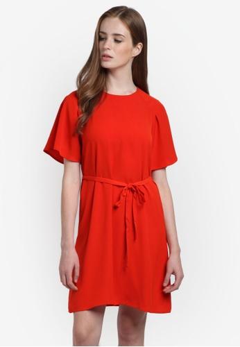 WAREHOUSE red Pleated Sleeve Dress WA653AA0RH8RMY_1