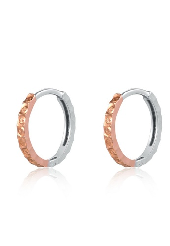 MaBelle red and silver 14K 585 Rose and White Gold Diamond Cut Hoop Earrings 9F5ECAC80D0E4EGS_1