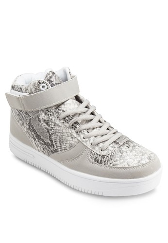 鱷魚紋高esprit 台北筒厚底運動鞋, 女鞋, 鞋