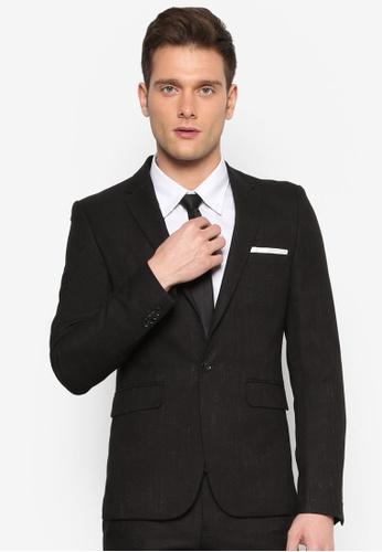 Burton Menswear London black Black Skinny Fit Slub Suit Jacket BU964AA54KWVMY_1