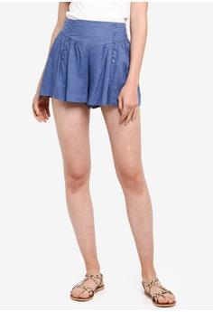 9028ff90929ec0 Kitschen blue Button Ruffle Wide Short Pant 8D0F3AA22C579CGS 1