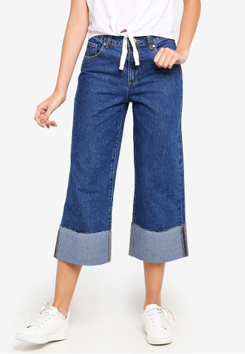 Cotton On blue Mid Rise Wide Leg Crop Jeans 2EC0EAA7FEAF8FGS_1