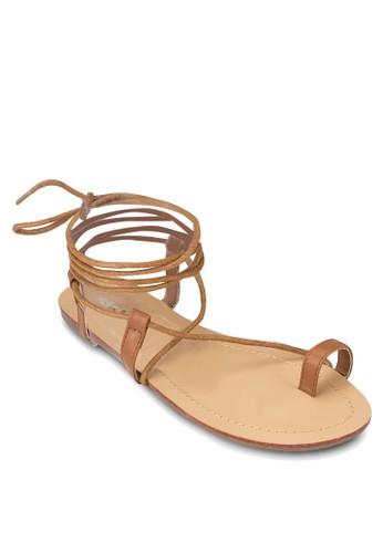 纏繞繫帶夾趾平底涼zalora 心得鞋, 女鞋, 涼鞋