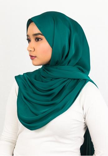 Zaryluq green and blue Silk Satin Shawl with Tassel in Turf Vocado 9A9DAAAB00C491GS_1