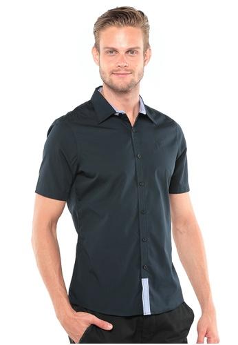 POLO HAUS blue Polo Haus - Woven Short Sleeve Shirt (Dark Blue) PO783AA78JOBMY_1