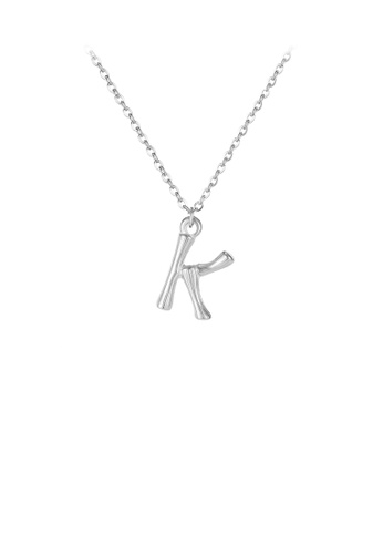 Glamorousky silver Fashion Simple English Alphabet K 316L Stainless Steel Pendant with Necklace 83756AC29D4505GS_1