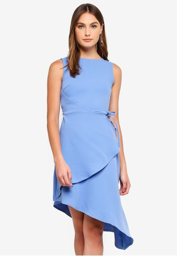 Lavish Alice blue Asymmetric Wrap Dress 168F0AA42A2490GS_1