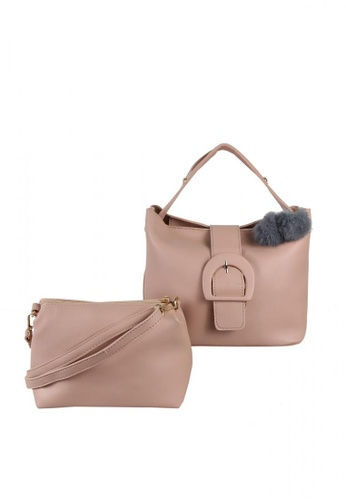DNJ pink Korean Tote Bag with Sling Bag DN487AC0KU24PH_1