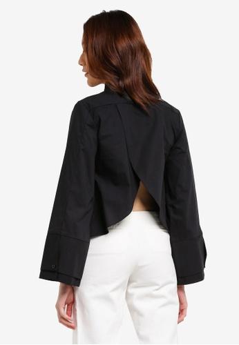 Something Borrowed black Double Cuff Wrap Back Shirt 2B2C9AAD7FDF21GS_1