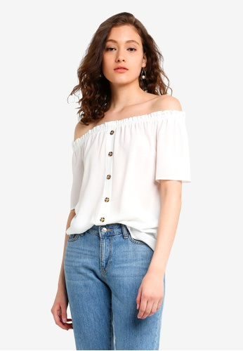 14961f32652 Dorothy Perkins white Ivory Button Through Bardot Top AF094AA761F973GS_1