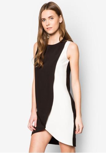 拼色裹飾連身裙, 服zalora 包包 ptt飾, 洋裝