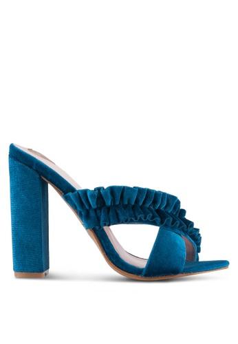 Velvet blue Soft Cross Ruffles Heels F9A31SH4A984BDGS_1