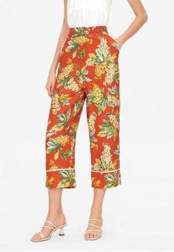 Pomelo orange Contrast Seam Floral Pants - Orange E718FAA00B789BGS_1