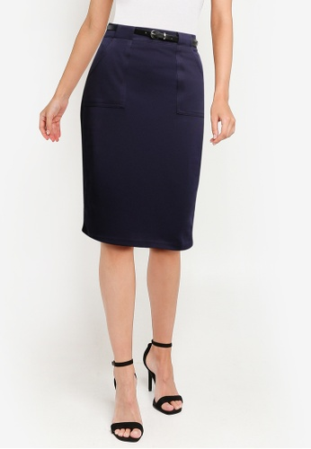 ZALORA WORK navy Belted Pencil Skirt 64AF3AAC7B728FGS_1