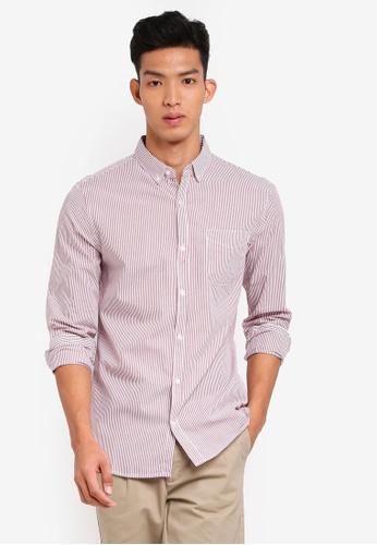 Cotton On 紅色 休閒鈕釦條紋襯衫 DCBB0AA592A155GS_1