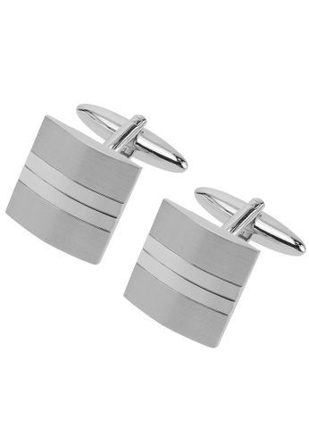 CUFF IT silver Shiny and Brushed Silver Split Cufflinks CU047AC88WPJHK_1