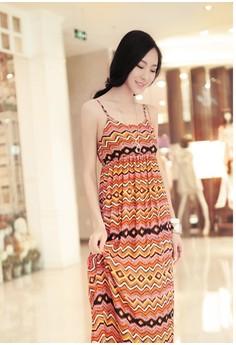 Women's Casual Orange Print Chiffon Ankle-Length Maxi Dress