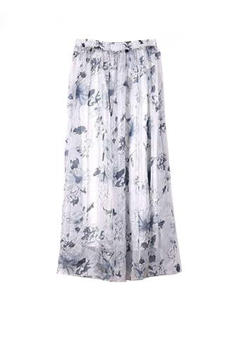 Twenty Eight Shoes grey VANSA Floral Chiffon Long Skirt VCW-Sk1136.24 6DABFAA3D12F9FGS_1