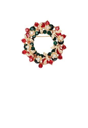 Glamorousky red Fashion and Elegant Plated Gold Geometric Wreath Brooch with Red Cubic Zirconia B16BDACA238A16GS_1