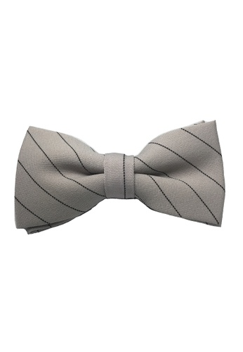 Splice Cufflinks grey Bars Series Black Stripes Greyish Beige Cotton Pre-Tied Bow Tie SP744AC28TZVSG_1