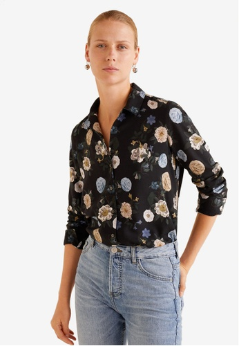 Mango black Flowers Printed Shirt 6DBACAA0FADB9DGS_1