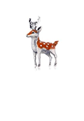 Glamorousky silver Fashion Cute Sika Deer Brooch 62C4EACE30EEE6GS_1
