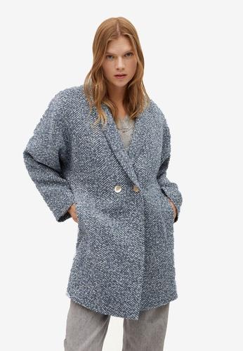 Mango blue Textured Wrap Coat 562FDAAD7E69D8GS_1