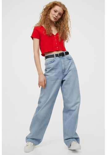 H&M red Button-front cropped top 1673AAA4E3739DGS_1