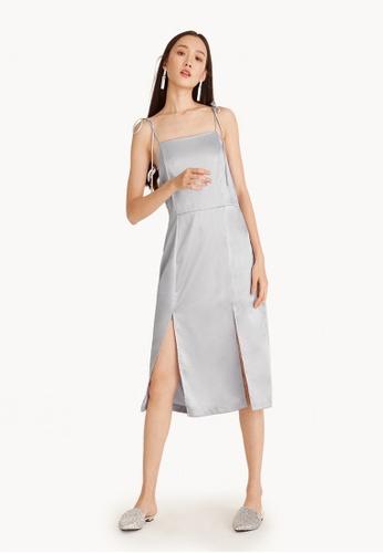 Pomelo grey Midi Satin Tie Strap Front Slit Dress - Light Gray B17C3AA31C630AGS_1