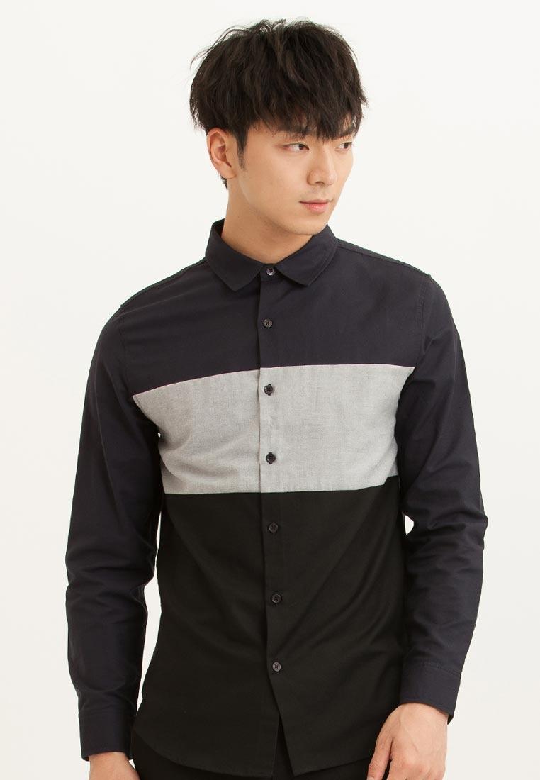 CONNECT Stripe H Sleeves Blue White Long Shirt wZ10x08q