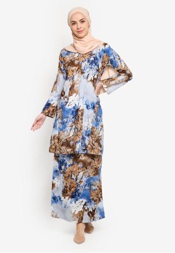 Baju Kurung Pahang from Azka Collection in Blue and Brown