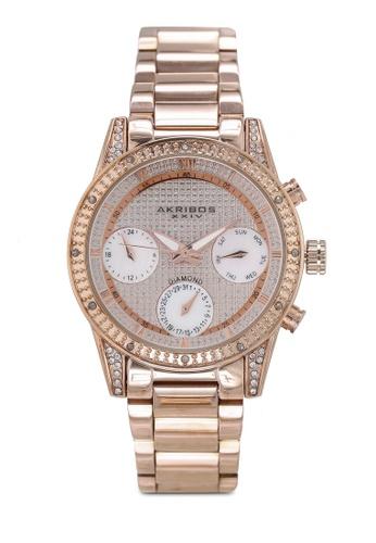 Akribos XXIV 粉紅色 鏈帶手錶 45A6AAC208B76FGS_1