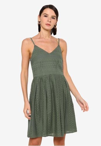 Vero Moda green Honey Lace Pleated Singlet Dress 2961EAADF19816GS_1