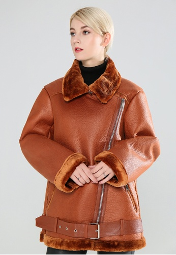 London Rag brown Biker Jacket With Faux Fur Collar 3AEF7AAC00BB9DGS_1