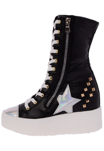 Maxstar 568 Synthetic Leather Studed White Platform Taller Insole Half-Long Boots US Women Size MA168SH96DWPHK_1