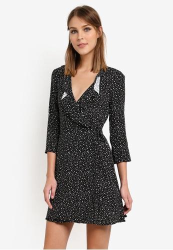 WAREHOUSE 黑色 Ditsy Star Frill Wrap Dress WA653AA0SCTMMY_1