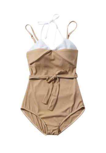 ZITIQUE beige Women's One-piece Swimsuit - Khaki 7B3B4US9036FD6GS_1