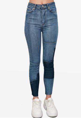Trendyol blue Patchwork High Waist Skinny Jeans 146F4AAB777367GS_1
