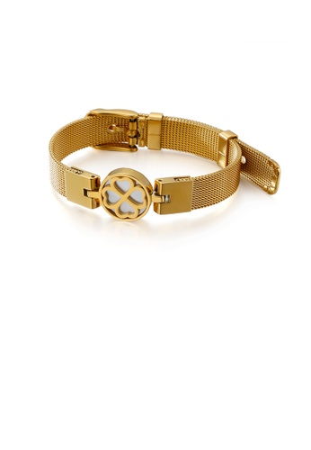 Glamorousky silver Fashion and Elegant Plated Gold Geometric Round Four-leafed Clover Mesh Belt 316L Stainless Steel Bracelet 52854ACDA51807GS_1