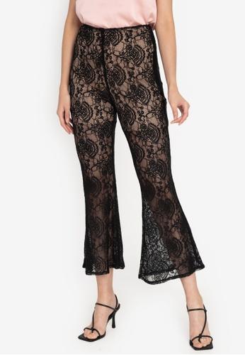 ZALORA OCCASION black Lace Flared Pants 786C0AA20F77ACGS_1