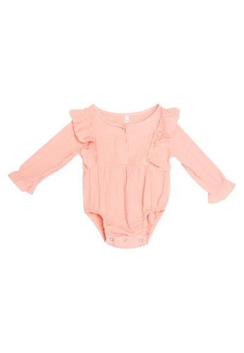 RAISING LITTLE pink Solinas Ruffled Long Sleeves Playsuit A126FKA7221DFEGS_1