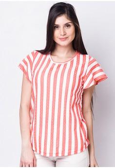 Stripe Short Sleeves Blouse