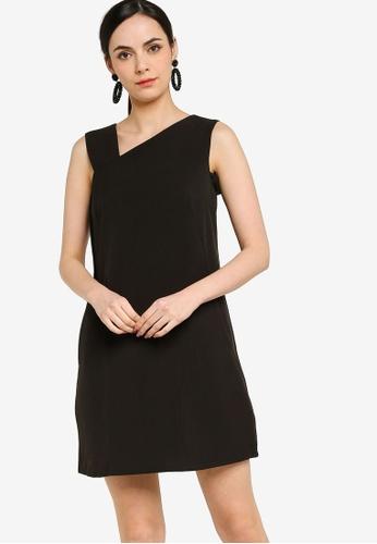 ZALORA WORK black Asymmetric Shift Dress 6115FAA13719ADGS_1