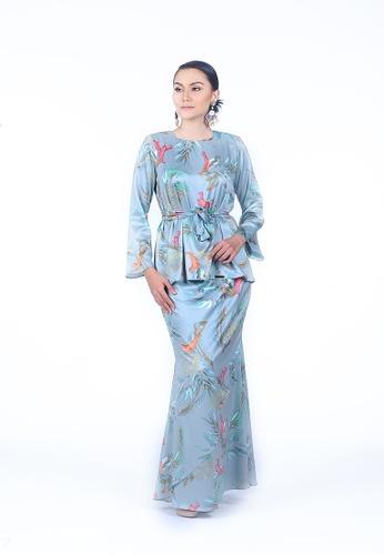 Marissa Blouse from Rumah Kebaya Bangsar in Grey and Green and Silver
