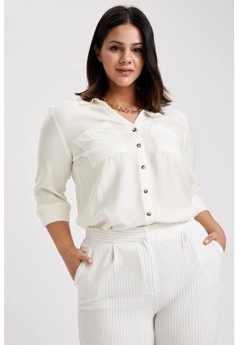 DeFacto beige Woman Woven Long Sleeve Shirt EE781AA56EF02CGS_1