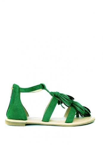HDY green Iris Tassel Flat Sandals HD484SH84RQLPH_1